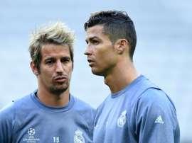 Cristiano et Coentrao lors d'une séance d'entraînement avec leurs coéquipiers du Real Madrid. AFP