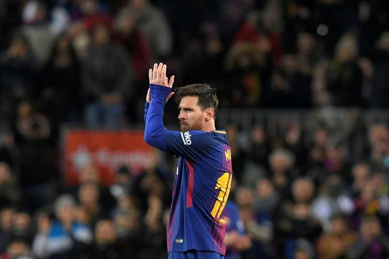 La star du FC Barcelone Lionel Messi lors de la réception du Celta Vigo au Camp Nou. AFP