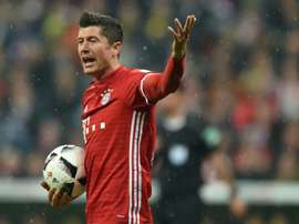 L'attaquant du Bayern Robert Lewandowski face au Borussia Dortmund en Coupe d'Allemagne. AFP