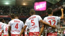 Les joueurs de Reims vainqueurs de Lyon en ouverture de la 2e journée de L1. AFP
