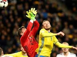 Marcus Berg a participé au festival de buts de son équipe face la Biélorussie. AFP