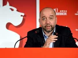 Le nouveau propriétaire de Lille Gérard Lopez en conférence de presse au centre d'entraînement. AFP