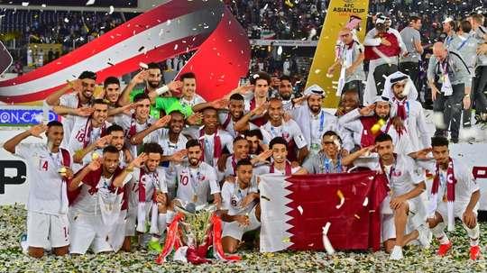 Les Qataris fêtent leur victoire. AFP