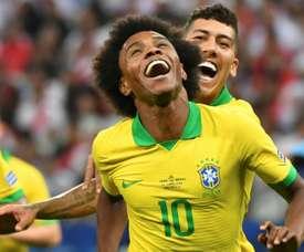Willian buteur lors de la qualification en quarts de finale de la Copa América. AFP