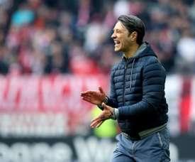 Niko Kovač, lors du match de Bundesliga à Düsseldorf. AFP