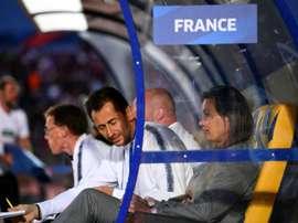 La sélectionneuse des Bleues Corinne Diacre lors de la victoire sur la Chine. AFP