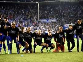 Les joueurs dAlaves fêtent leur qualification pour la finale de la Coupe du Roi, le 8 février 2017.