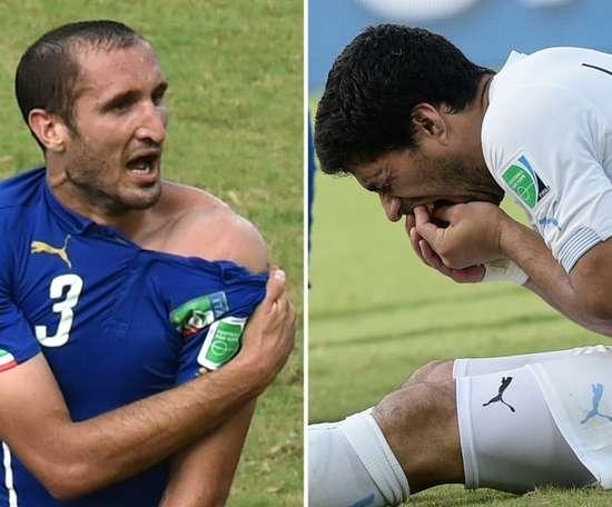 Chiellini admire la malice de Suárez. AFP
