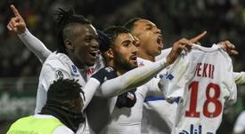 ¿Repetirá Fekir su celebración en el 'derbi del Ródano' a lo Messi ante el Sevilla? AFP