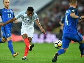 Le jeune attaquant Marcus Rashford inscrit le 2e but de l'Angleterre contre la Slovaquie. AFP