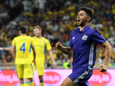Morgan Sanson savoure son but face aux Slovènes de Domzale en barrages aller de l'Europa League. AFP