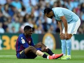 Dembélé voltou a se lesionar. AFP