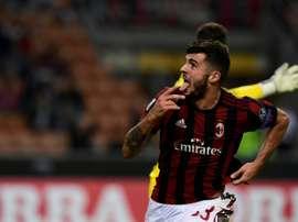Lattaquant de l'AC Milan Patrick Crutone auteur du but la victoire face à Rijeka. AFP'