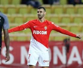 Le milieu de terrain de Monaco Rachid Ghezzal après son but à domicile contre Metz. AFP