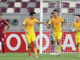 Les joueurs de la Chine sont allés s'imposer devant le Qatar à Doha, le 5 septembre 2017. AFP