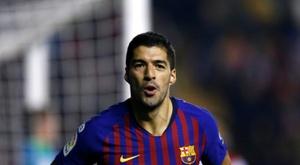 Luis Suarez vient de marquer contre le Rayo Vallecano. AFP