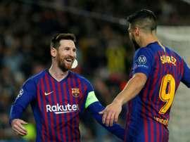 Messi et Suárez, premier et deuxième au classement 'Pichichi'. AFP