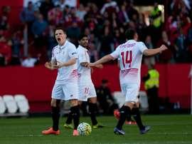 Lattaquant français Kévin Gameiro, buteur pour Séville FC contre Villarreal, le 13 mars 2016 au stade Sanchez Pizjuan