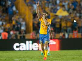 André-Pierre Gignac, buteur sur penalty avec les Tigres face à Puebla, le 17 septembre 2016. AFP