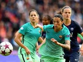 Lattaquante espagnole de Barcelone Jennifer Hermoso (c) lors de la demi-finale de la C1. AFP