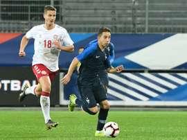 Oliver Abildgaard buteur lors de la victoire 1-0 sur la France. AFP
