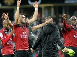 La joie des Guingampais après leur succès sur le fil face à Bordeaux, le 20 novembre 2016. AFP