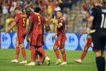 Hazard mostró su felicidad tras marcar contra República Checa. AFP