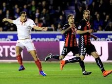 Wissam Ben Yedder (g) buteur pour le Séville FC dans le match nul face au Deportivo Alaves