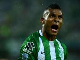 Miguel Borja, de l'Atletico National, célèbre un but en demi-finale de Copa Libertadores. AFP