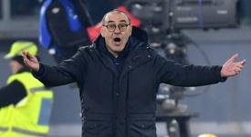 Sarri alabó a Cristiano Ronaldo tras ganar a la Roma. AFP