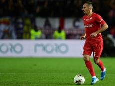 Ribéry sérieusement touché à la cheville droite. AFP