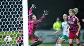 Hegerberg, a un gol de ser la máxima goleadora. AFP