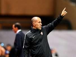 L'entraîneur de Monaco Jardim donne des instructions lors du match face à la Juventus en C1. AFP