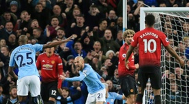 City face United in the Manchester Derby on Wednesday night. AFP