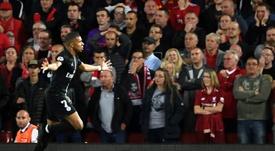 Mbappé marcó en Anfield. AFP
