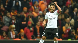 Eduardo Salvio, alors ailier à Benfica, buteur contre Galatasaray en C3. AFP