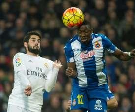 Pape Diop ici le 31 janvier 2016 sous le maillot d'Espanyol Barcelone face au Real. AFP