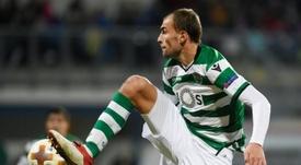Bas Dost avec le Sporting Lisbonne contre le Viktoria Plzen. AFP