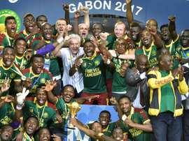 La joie des Camerounais, vainqueurs de la CAN face à l'Egypte, le 5 février 2017 à Libreville. AFP