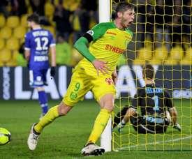 Emiliano Sala marcó el único gol del Nantes-Troyes. AFP
