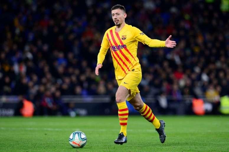 Lenglet was back training for Barca. AFP