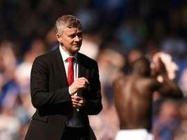 Solskjaer à la fin du match contre Everton en Premier League. AFP