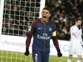 Thiago Silva, au cours du match gagné 3-0 devant l'Olympique de Marseille. AFP