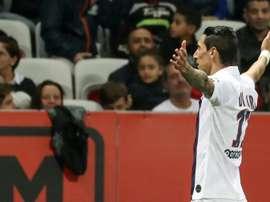 Angel Di Maria auteur d'un doublé dans la large victoire du PSG sur l'OGC Nice. AFP
