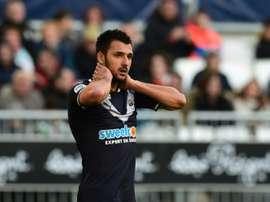 L'attaquant des Girondins Gaëtan Laborde lors dun match contre Rennes. AFP