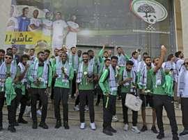 Des joueurs de léquipe nationale de football de l'Arabie saoudite arrivent à Ramallah. AFP
