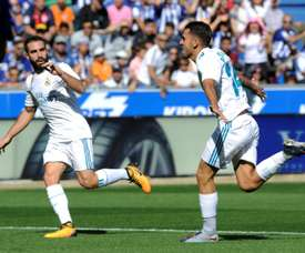 Ceballos scored twice against Alaves as Real earned a much-needed win. AFP