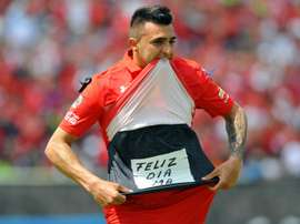 Enrique Triverio, buteur avec Toluca face aux Pumas. AFP