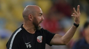 Felix Sanchez lors du match nul 2-2 face au Paraguay. AFP