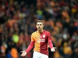 Lukas Podolski sous le maillot de Galatasaray contre le FC Astana en Ligue des champions. AFP